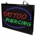 Szyld LED z łańcuszkiem do zawieszenia - Tattoo + Piercing
