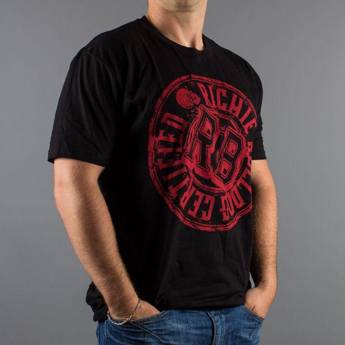 T-Shirt Luxury Hustle Wear, logo: Richie Bulldog Certified, kolor: czarny/czerwony